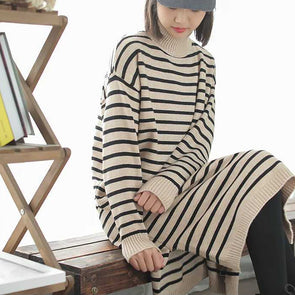 Knitted Pullover Winter Stripe Loose Sweater Dress