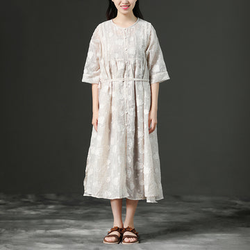 Loose Summer Lacing Beige Long Linen Women Dress