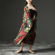 Women Floral Printing V Neck Long Loose Dress