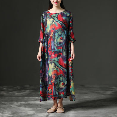 Summer Polyester Printed Round Neck Loose Dress