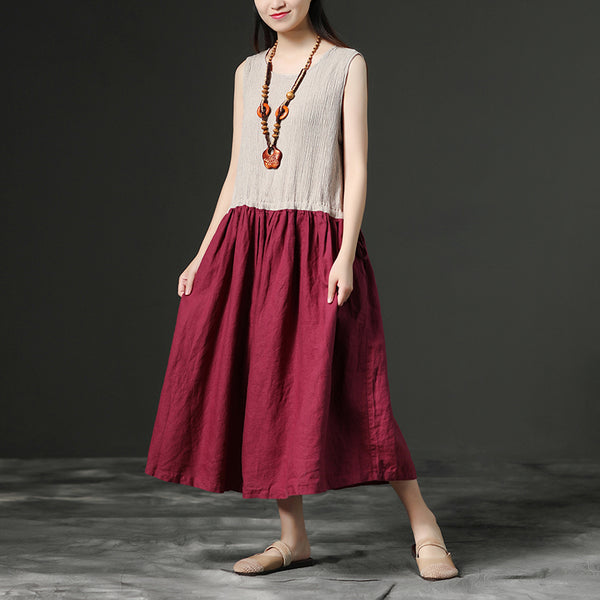Sleeveless Linen Leisure Summer Women Dress
