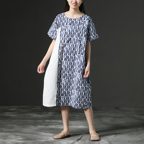 Linen Blue Round Neck Loose Commuter Dress