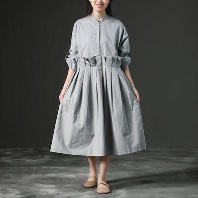 Loose Gray Long Cotton Summer Pleaded Dress