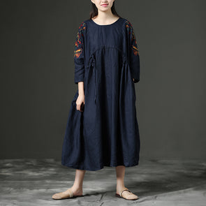 Floral Embroidered Vintage Loose Drawstring Long Dress