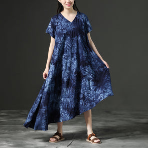 Cotton Retro Printing Loose Women Irregular Blue Dress