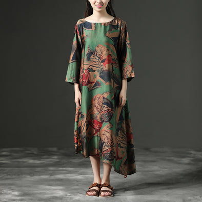 Loose Ethnic Half Sleeve Polyester Elegant Long Dress