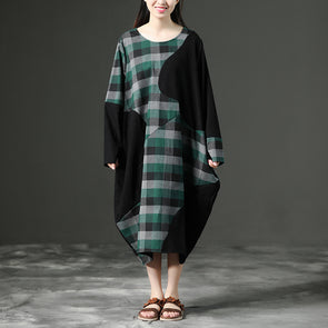 Long Sleeve Green Plaid Loose Pockets Autumn Dress
