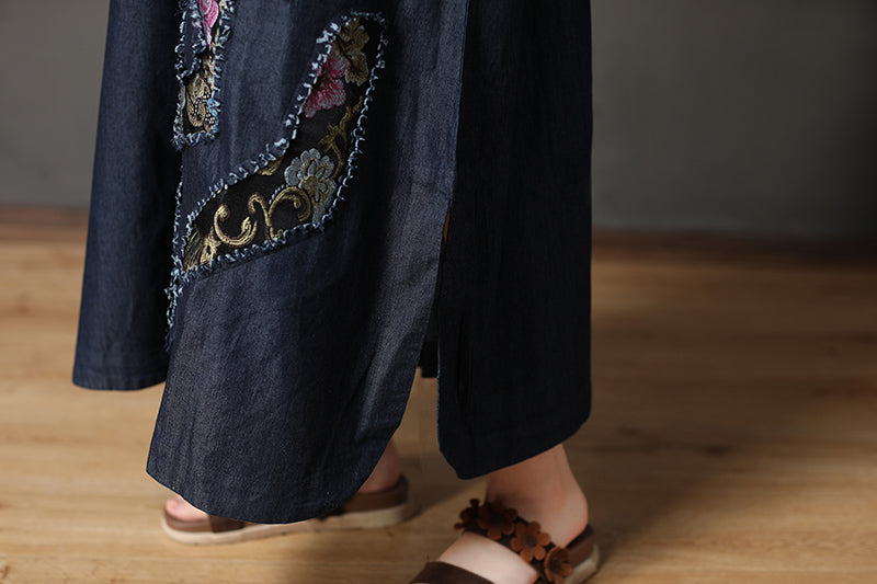 Cotton Navy Blue Long Sleeve Round Neck Embroidery Dress