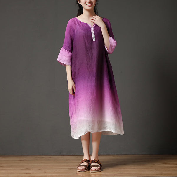 Summer Purple Women Loose Linen Long Dress