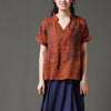 Linen Brown Short Sleeve Casual Loose Women Blouse