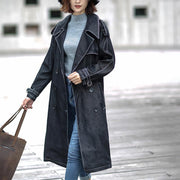 Cotton Solid Sashes Casual Office Lady Denim Coat