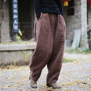 Chinese Style Vintage Cotton Linen Winter Harem Pants