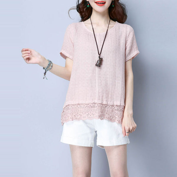 Women Splicing Cotton Loose Linen Casual Pink Shirt - Buykud
