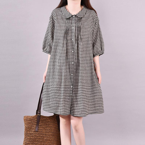 2019 Summer New Plaid Short Sleeve Dress