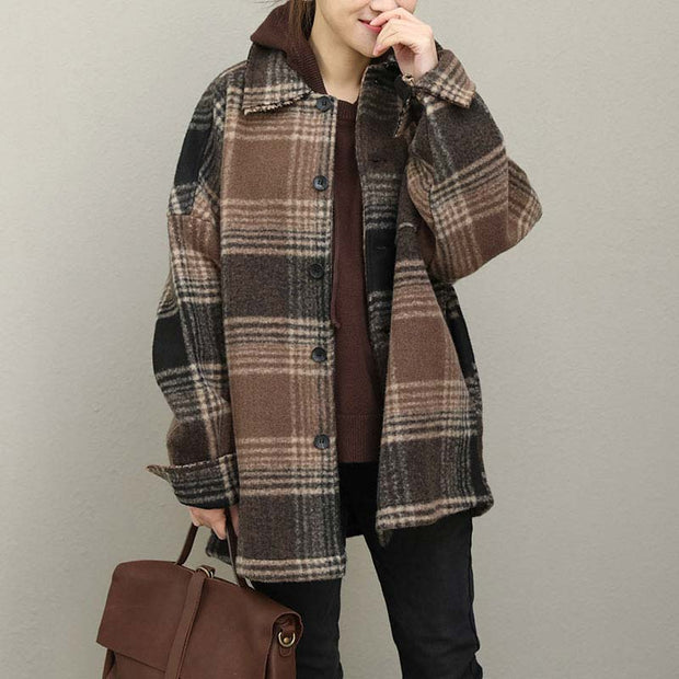 Loose Polo Collar Coffee Lattice Single Breasted Coat - Buykud