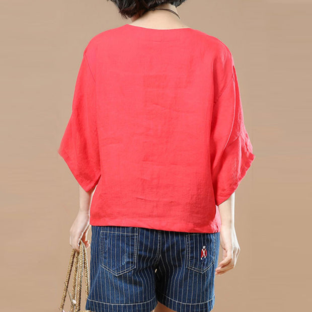 Embroidered Women Short Sleeves Red Shirt - Buykud