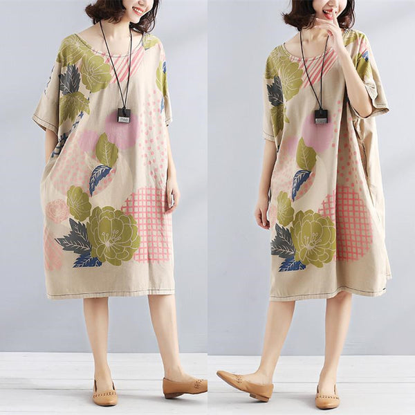 Literature Short Seeves Chic Printing Pocket Loose Women Beige Dress