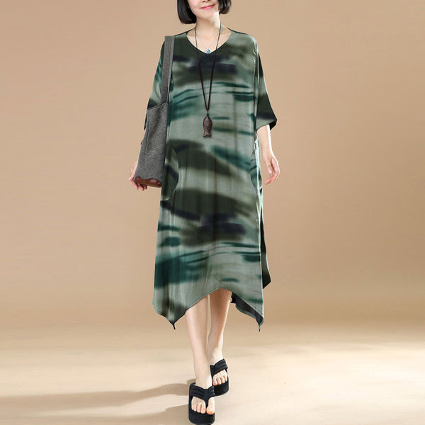 Summer Women Literature Printing Irregular Short Sleeves Green Dress - Buykud