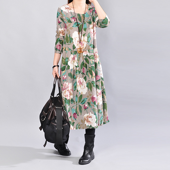 Autumn Fashion Casual Loose Floral Cotton Long Sleeves Gray Dress