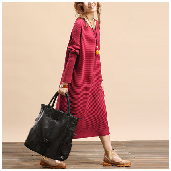 Women plus size loose fitting winter knitting sweater dress - Tkdress  - 6