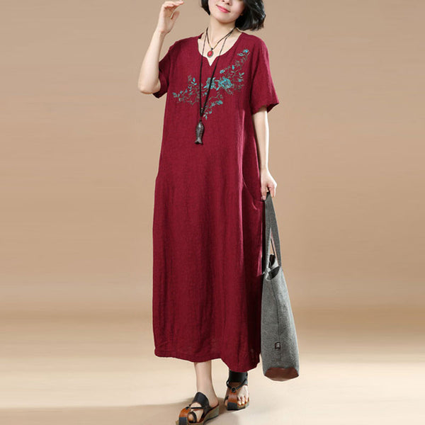 Summer Casual Jacquard Short Sleeves Red Dress - Buykud