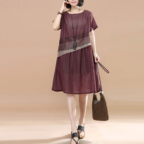 Stylish Splicing Stripe Organza Short Sleeve Loose Women Red Dress - Buykud