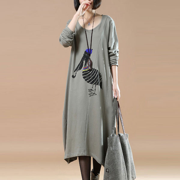 Cotton Splicing Round Neck Loose Gray Dress