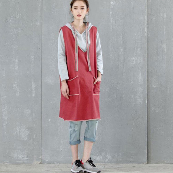 Women Casual Loose V Neck Red Vest