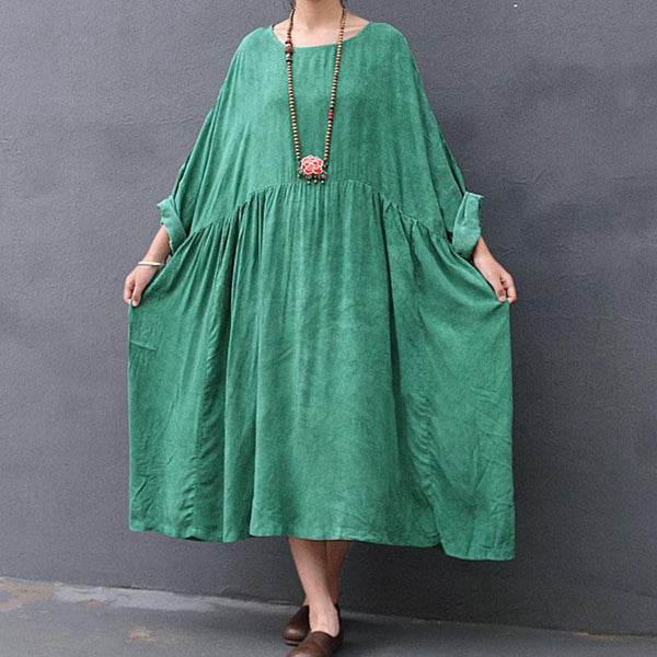Retro Loose Bat Sleeve Gown Green Dresses