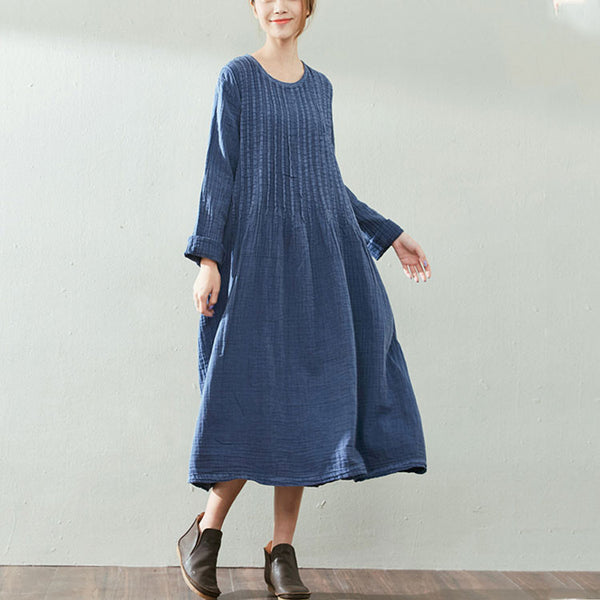 Retro Loose Cotton Linen Blue Dress