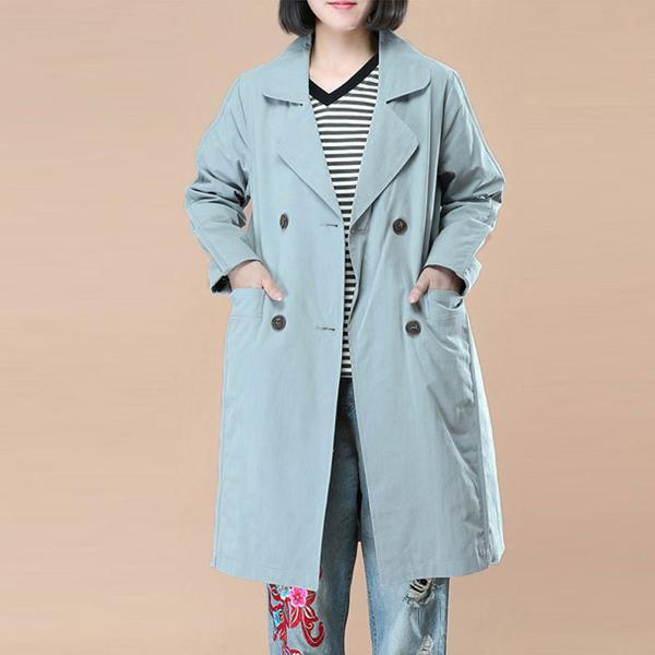 Literature Polo Collar Long Sleeves Black Women Coat