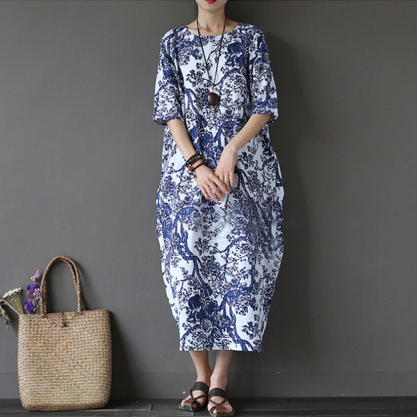 Cotton Linen Printed Loose Women Half Sleeve Dress