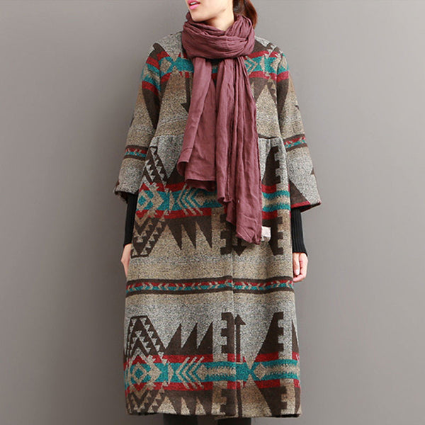 National Printing Woolen Khaki Coat - Buykud