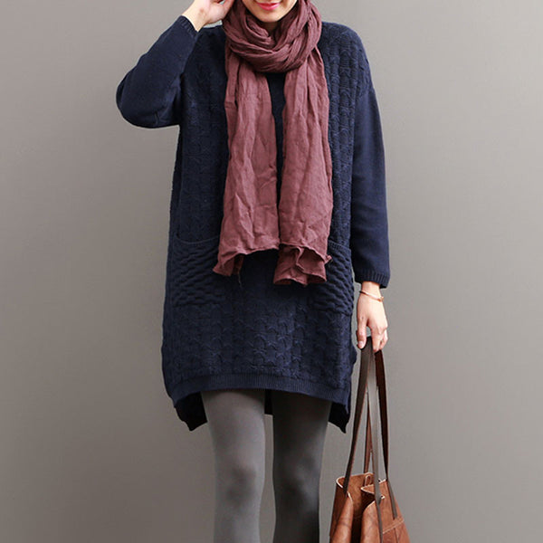Blue Hedging Casual Loose Split Knit Sweater