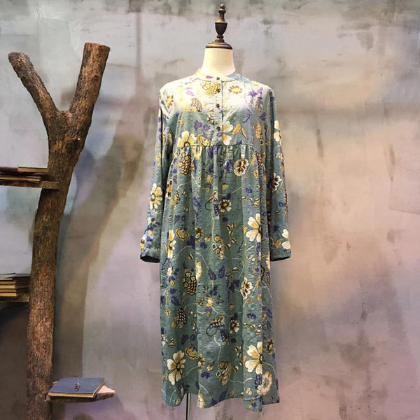 Printing Stand Collar Loose Splicing Green Long Dress