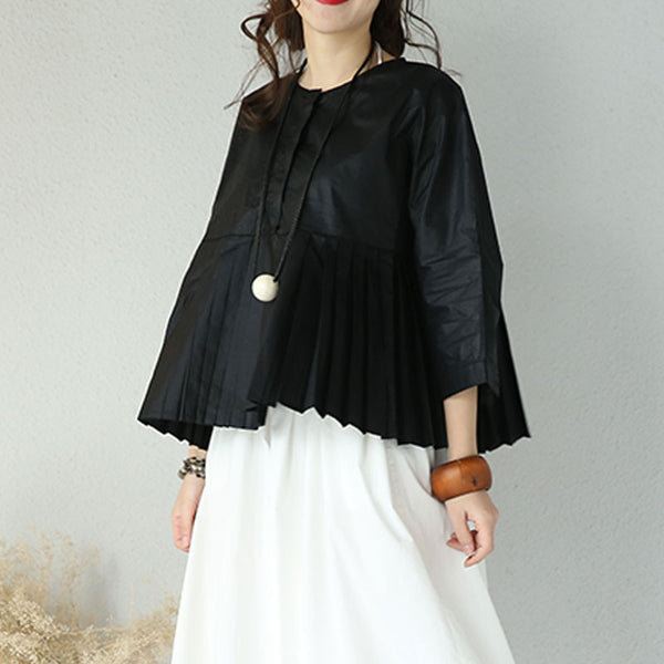 Women Round Neck Folds Casual Black Short Shirt