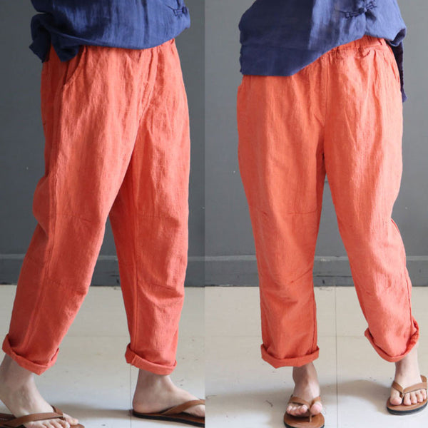 Linen Straight Women Loose Summer Casual Orange Pants