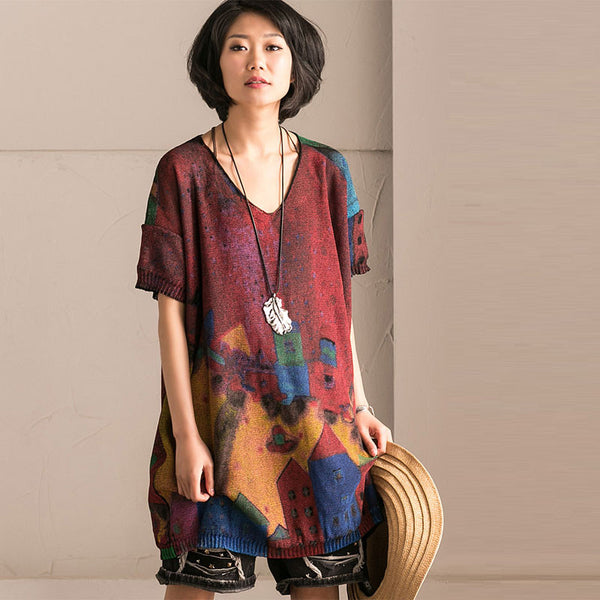 Loose Women Casual Printing Linen Cotton Green Shirt