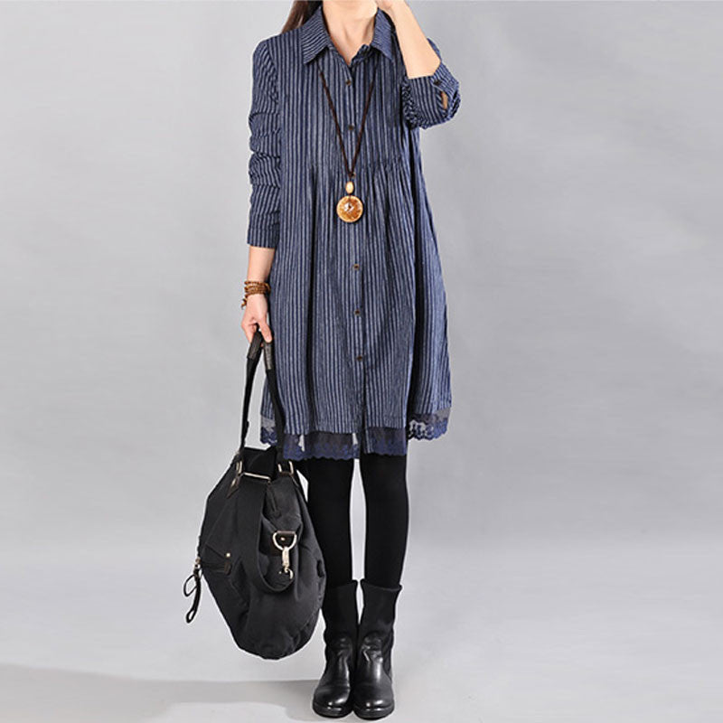Loose Cotton Printing Lace Hem Blue Dress - Buykud
