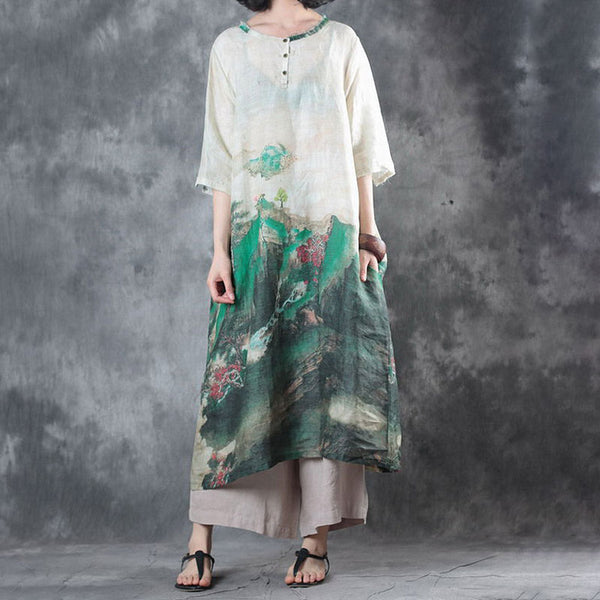 Loose Summer Ethnic Printed Ramie Short Sleeve Dress - Buykud