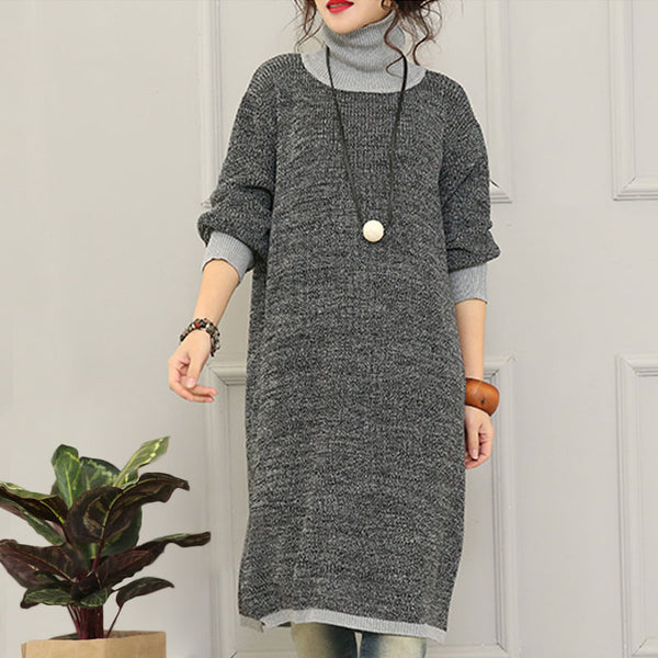 Gray High Necked Wool Knit Dress