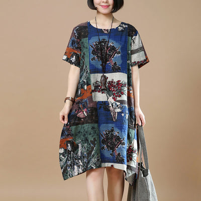 Summer Retro Printing Loose Navy Blue Dress - Buykud