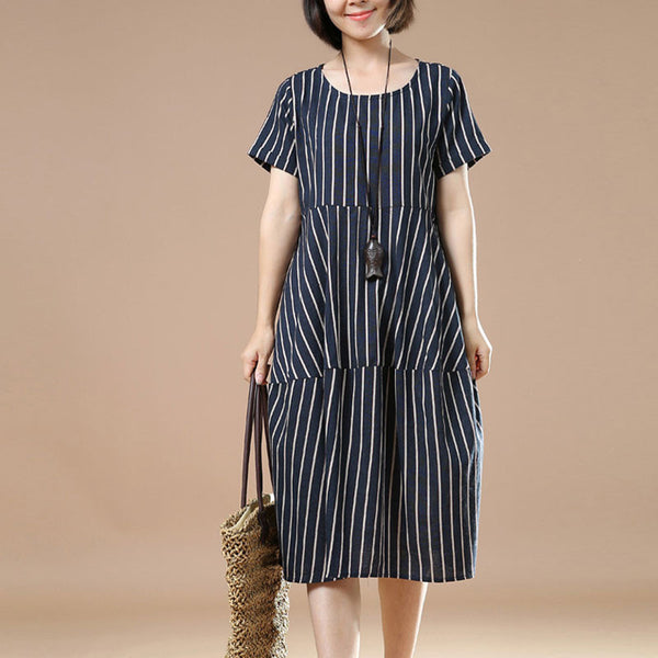 Summer Women Short Sleeves Navy Blue Stripe Dress - Buykud