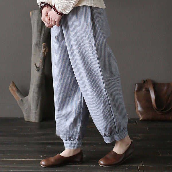 Women Light Blue Stripe Ankle-Length Pockets Flax Pants