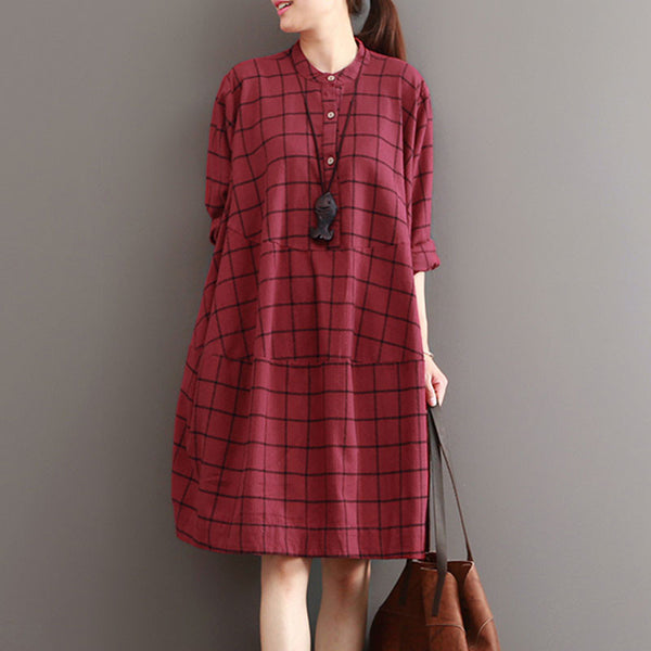 Casual Loose Stitching Plaid Red Dress