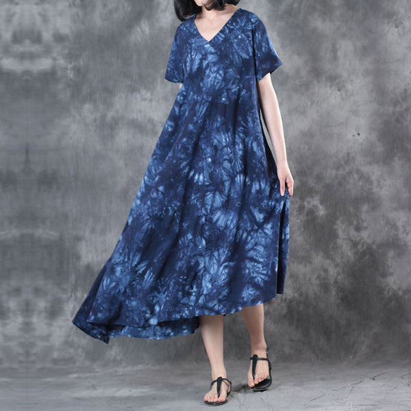 Retro Printing Loose Women Cotton Floral Irregular Splicing Blue Dress