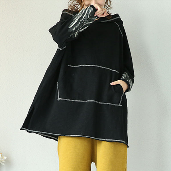 Spring And Autumn Retro Black Hooded Pullover