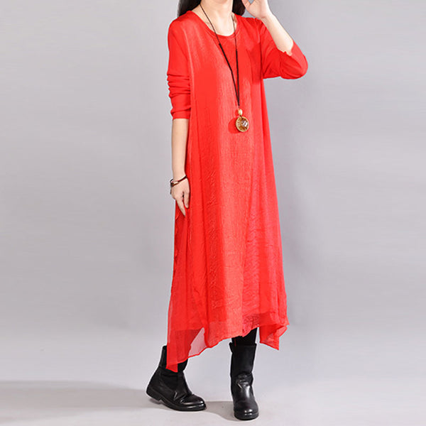 Round Neck Long Sleeve Casual Polyester Red Dress - Buykud