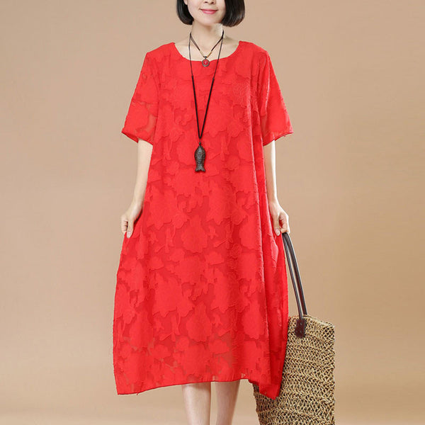 Jacquard Women Loose Casual Cotton Linen Summer Red Dress - Buykud