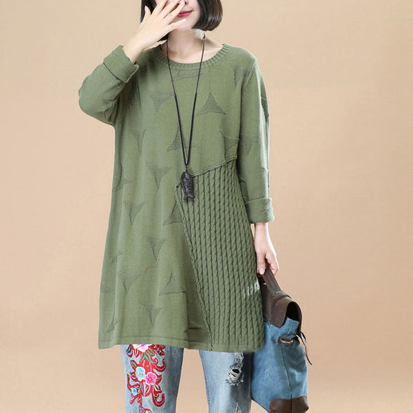 Triangle Stripe Splicing Autumn Women Green Knitting Shirt - Buykud